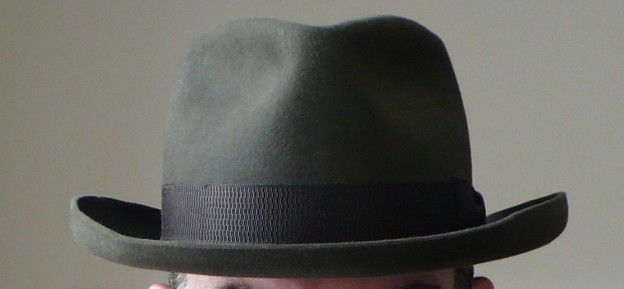 Gary White Diamond crown homburg roll moss gree with NOS 30s ribbon